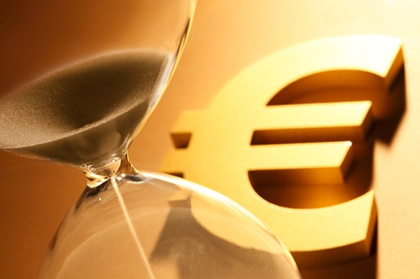 Hourglass and symbol of the Euro
