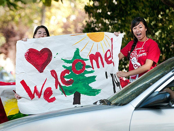 Students welcoming incoming freshmen in September, 2011.