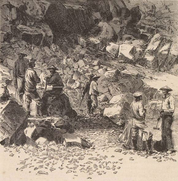 Woodcut of Chinese laborers working on the Central Pacific Railroad