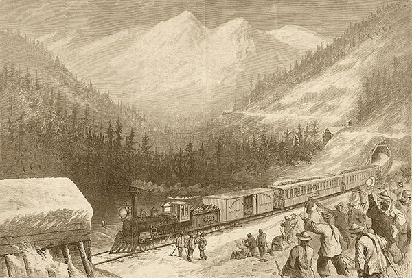 Woodcut of Chinese workers cheering as a train goes by the snowcapped mountains
