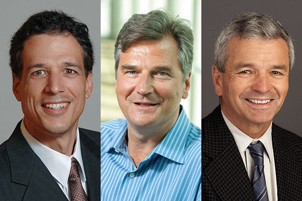 Peter DeMarzo, business, Bernd Girod, engineering, and Charles Prober, medicine.