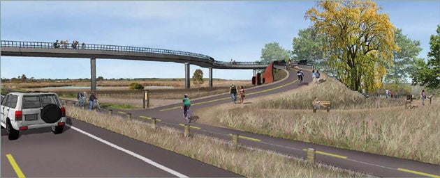 Artist's rendering of the proposed Palo Alto pedestrian and bicycle bridge over Highway 101 to provide access to and from the Baylands.