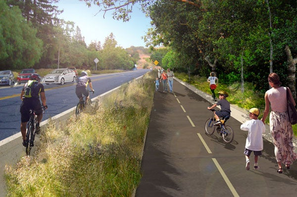 Artist's rendering of a proposed continuous trail along Stanford Avenue from El Camino Real to Junipero Serra Boulevard.