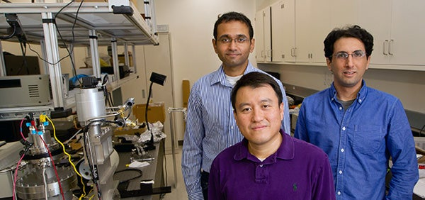 Electrical engineering Professor Shanhui Fan (center) and graduate students Aaswath Raman (left) and Eden Rephaeli (right) have developed a solar cooling device that may be able to supply air conditioning without using electricity to poor and off-the-grid