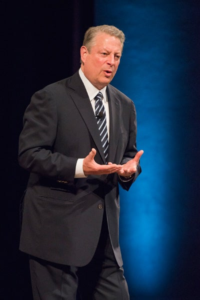 Al Gore speaking in Memorial Auditorium