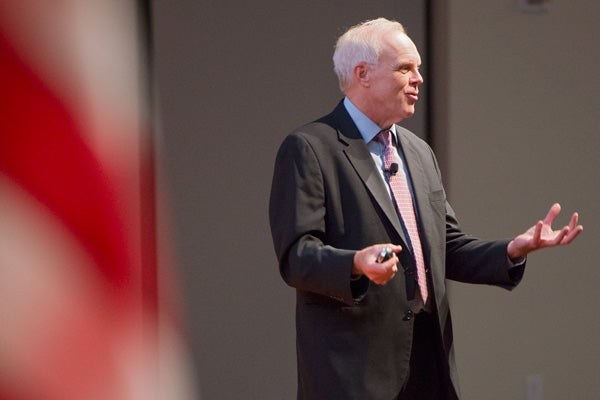 President John Hennessy gives his annual address to the Academic Council