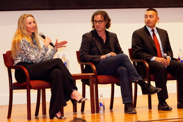 Laurene Powell Jobs, Davis Guggenheim and Alejandro Morales at Stanford event
