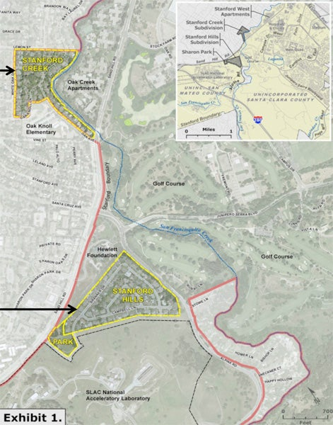 Map of Stanford Hills and Stanford Creek neighborhoods