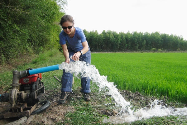 Laura Erban samples a well in the Mekong Delta