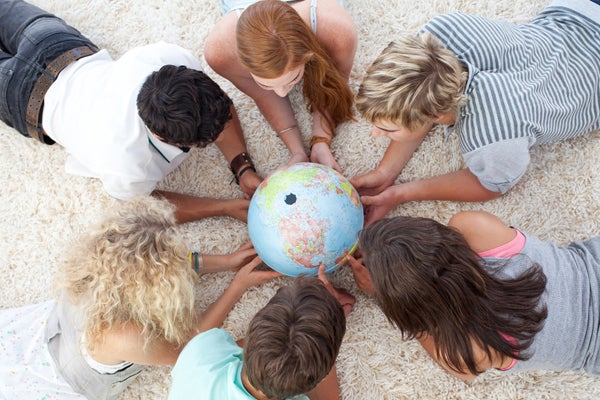 Students around a globe