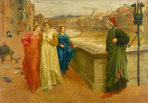 'Dante meets Beatrice at Ponte Santa Trinita' by Henry Holiday, 1884.