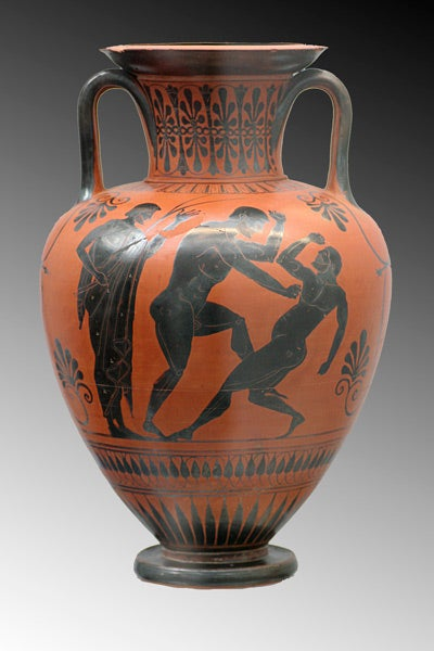 A vase from 500 BC shows ancient Greek boxers training for competition.