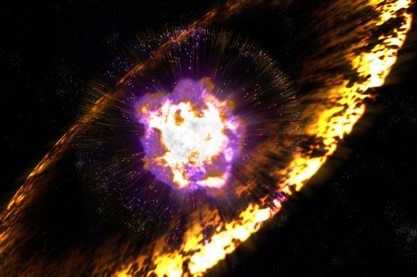 When stars explode, the supernovas send off shock waves like the one shown in this artist's rendition, which accelerate protons to cosmic-ray energies through a process known as Fermi acceleration.
