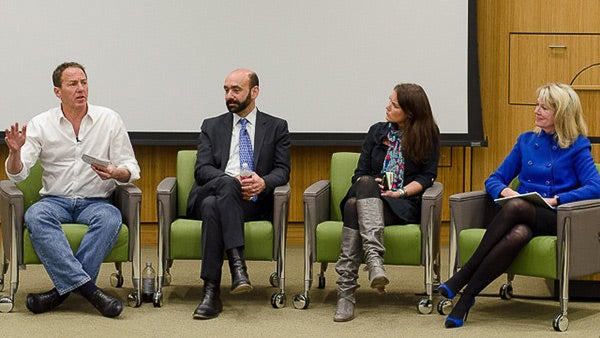 Panelists at the Stanford forum included, from left, John Katzman, Richard Arum, Emily Goligoski and Therese Cannon
