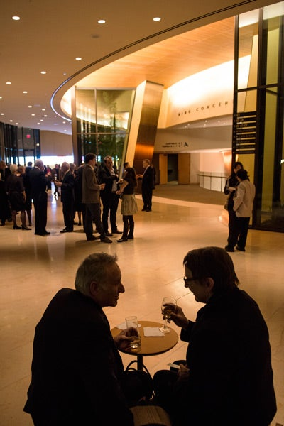 Patrons Dennis Facchino and Angela Sowa enjoy refreshments before the concert.