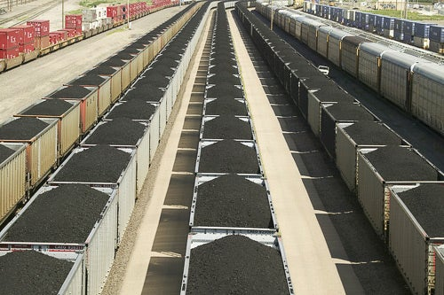 Freight cars carry tons of coal through Union Pacific's Bailey Railroad Yards, North Platte, Neb.