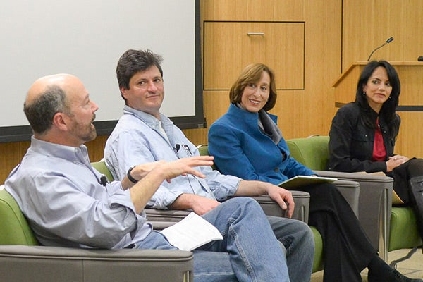 Ed Carryer, Nick Parlante, Tina Seelig and Maya Adam, who have all used online teaching innovations in their classes, participate in a forum sponsored by the Office of the Vice Provost for Online Learning.