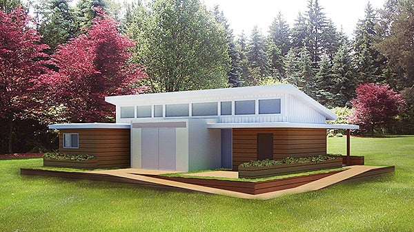Computer-generated rendering of the Solar Decathlon's team planned solar home.