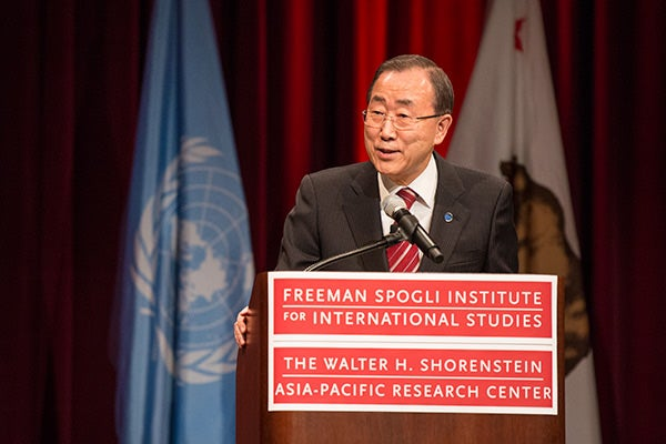 U.N. Secretary-General Ban Ki-moon speaking at Stanford's Dinkelspiel Auditorium
