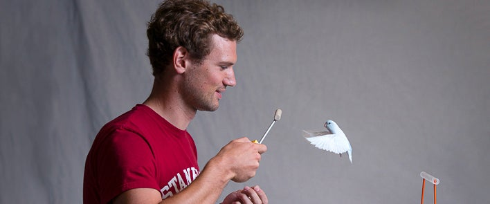 Eirik Ravnan and a parrotlet