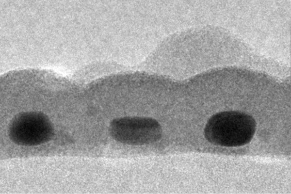 An electron micrograph shows the cross-sectional view of the record-thin absorber layer created at Stanford. Shown are three gold nanodots, each about 14-by-7 nanometers in size, coated with in sulfide.