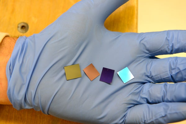 These four wafers contain the thinnest light-absorber ever built.