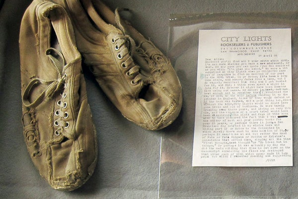 Old shoes and paper, part of Stanford's Allen Ginsberg Papers collection.