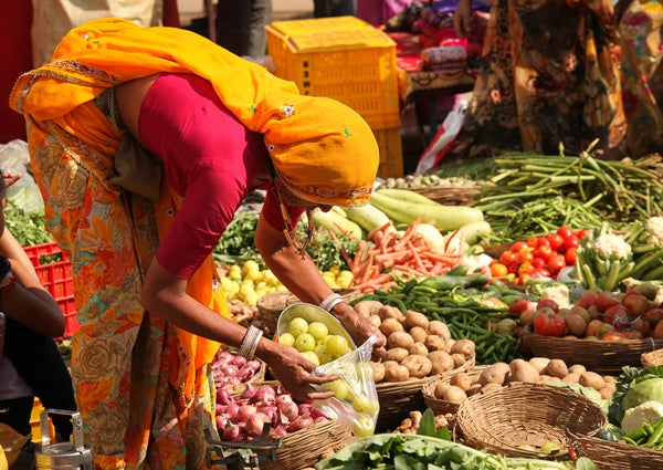 Vegetable merchant in India.