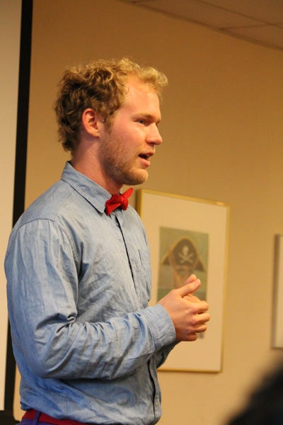 Blake Montgomery, a junior majoring in English, delivers 'The Idea of Order at Key West' by Wallace Stevens.