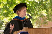 Dean of the School of Earth Sciences Pamela A. Matson at podium