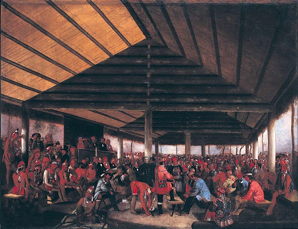 Painting of American Indian lodge