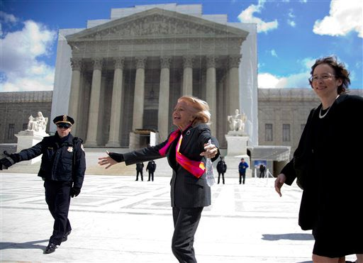 Edith Windsor, center, and Stanford law Professor Pamela Karlan outside the Supreme Court on March 27, 2013.