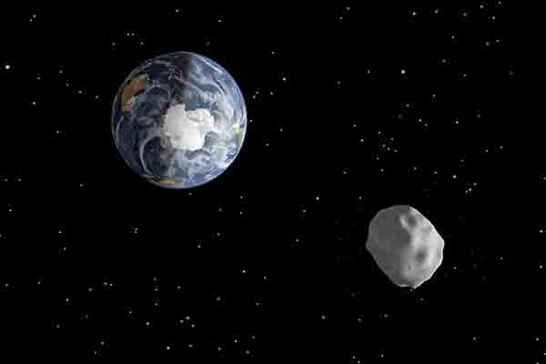 Diagram depicts the passage of asteroid 2012 DA14 through the Earth-moon system on Feb. 15, 2013.