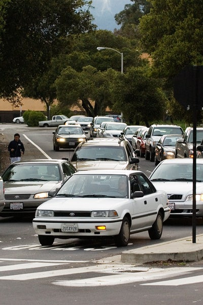 Commuter traffic on the Stanford campus