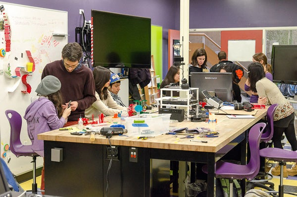 High school students from nearby Redwood City participate in an intensive course at the FabLab at the Graduate School of Education.