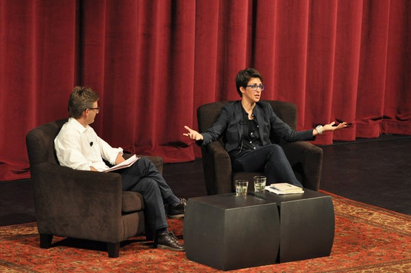 Rachel Maddow, right, with Rob Reich, associate professor of political science.