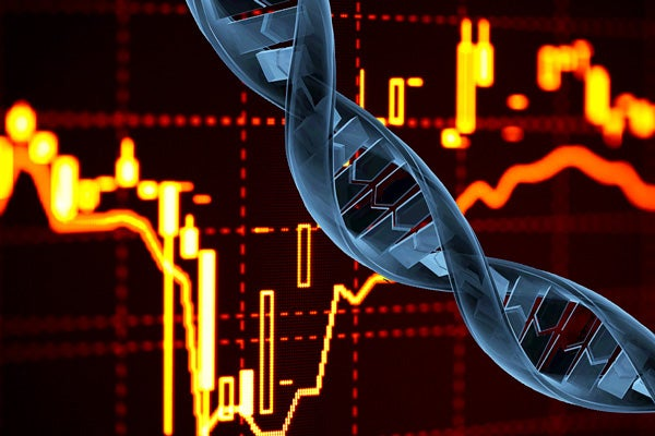 Illustration showing stock chart and DNA strand