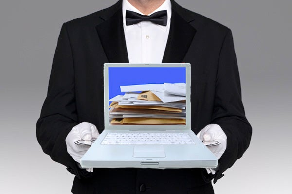 Valet holding a computer