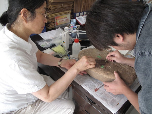 Professor Li Liu and graduate student Hao Zhao take residue and use-wear samples from a grinding slab in China.