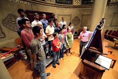 Stanford vocalists with Jesse Rodin.
