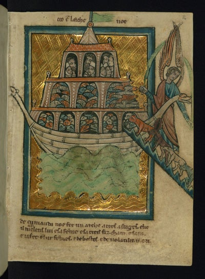 This scene of Noah's Ark is a leaf from a manuscript of Bible pictures by W. de Brailes, an English artist active in Oxford in the 13th century.
