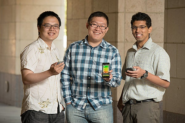 Graduate students Chenguang Zhu, Tom Yue and Chinmoy Mandayam