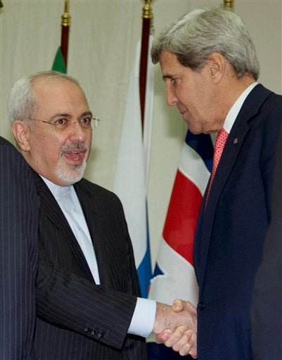 Mohammad Javad Zarif and John Kerry shaking hands