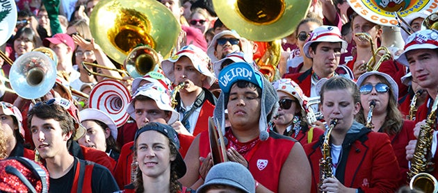 Members of the Stanford Band at a football game