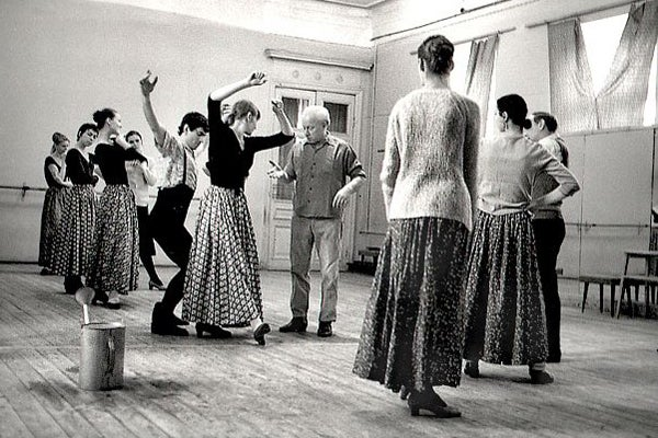 Russian choreographer Leonid Yakobson directs dancers in rehearsal.