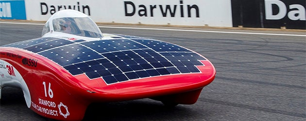 The Stanford solar car at the racetrack in Darwin, Australia, for the 2013 Bridgestone World Solar Challenge.