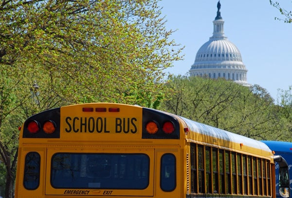 D.C. school bus with Capitol in the background.