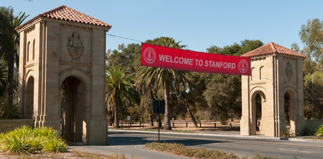 'Welcome to Stanford' banner across Palm Drive / Photo: L.A. Cicero