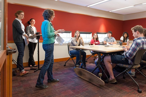 Julia Bleakney and writing tutors at Hume Center