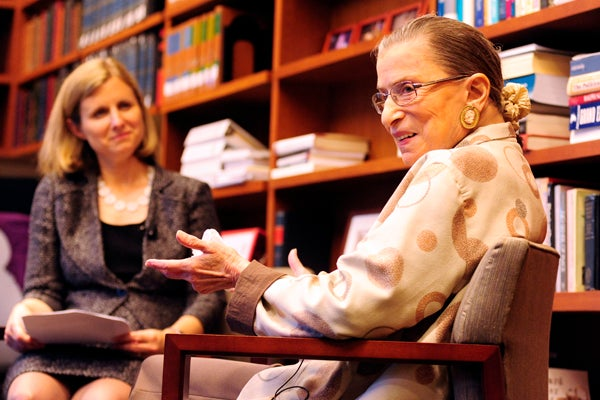 Justice Ruth Bader Ginsburg with Law Dean Elizabeth Magill